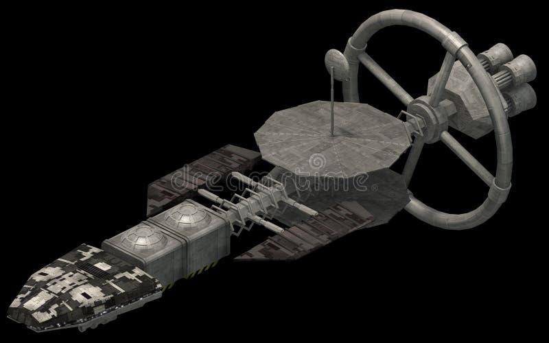 Isometrisk futuristisk science fictionarkitektur, utrymmeskepp med roterande drev framförande 3d stock illustrationer