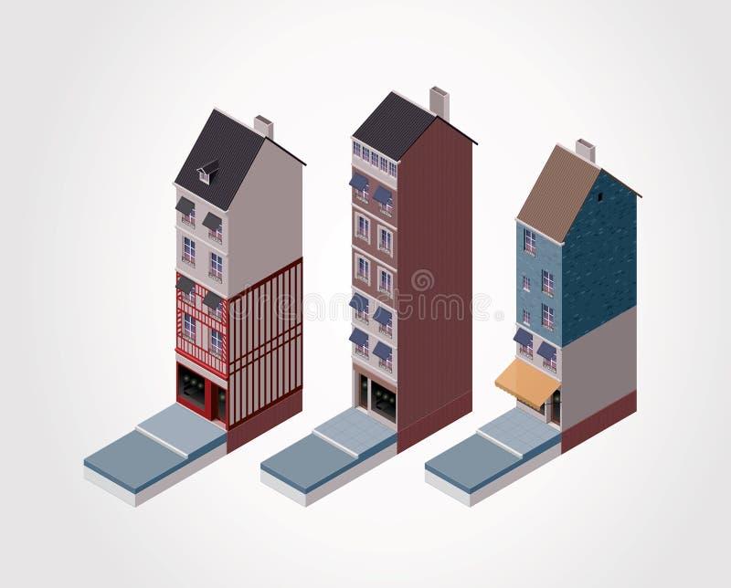 isometrisk gammal delvektor för 2 byggnader royaltyfri illustrationer
