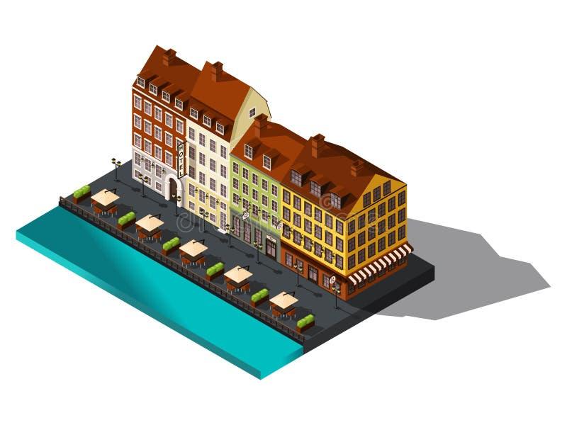 Isometrisk gata 3d från gammal dov vid havet, hotell, restaurang, Köpenhamn, Paris, den historiska mitten av staden, gamla byggna royaltyfri illustrationer