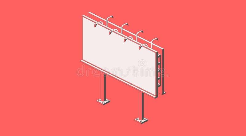 Isometrisk gataaffischtavla Vägskyltmodell Plan illustration för vektor med en röd färg Infographic befordranannonsering vektor illustrationer