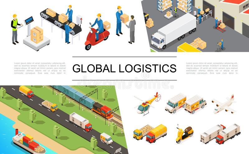 Isometrisk global logistikbeståndsdeluppsättning vektor illustrationer