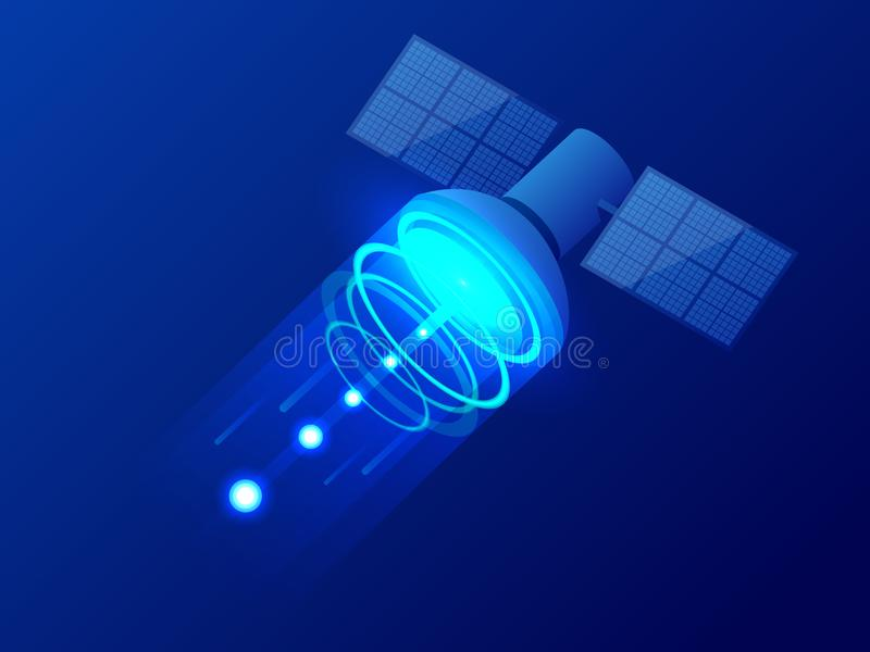 Isometrisk GPS satellit Trådlös satellit- teknologi Globalt netto för värld Utrustning för satellit- TV och radio royaltyfri illustrationer