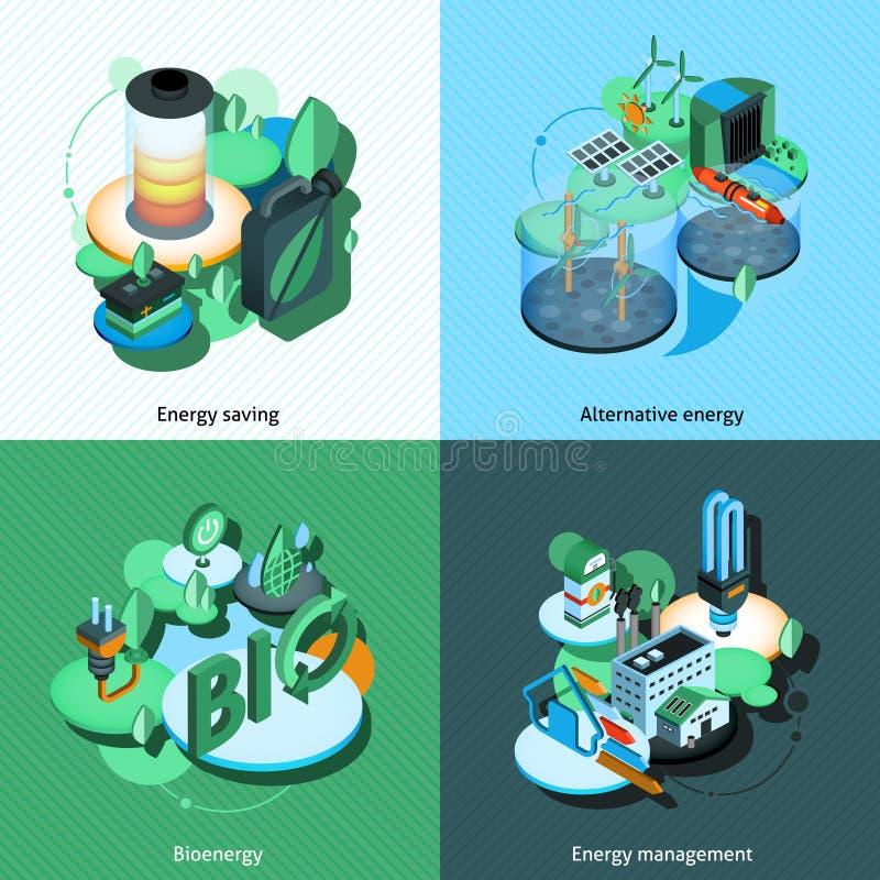 Isometrisk grön energi stock illustrationer
