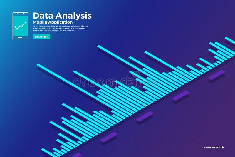 Isometrisk graf för dataanalys royaltyfri illustrationer