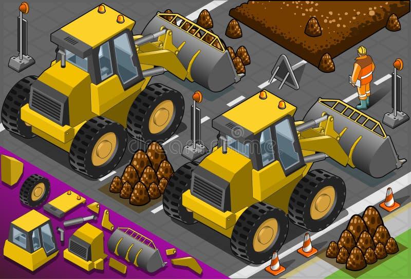 Isometrisk gul bulldozer i bakre sikt stock illustrationer