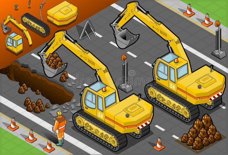 Isometrisk gul grävskopa i bakre sikt stock illustrationer