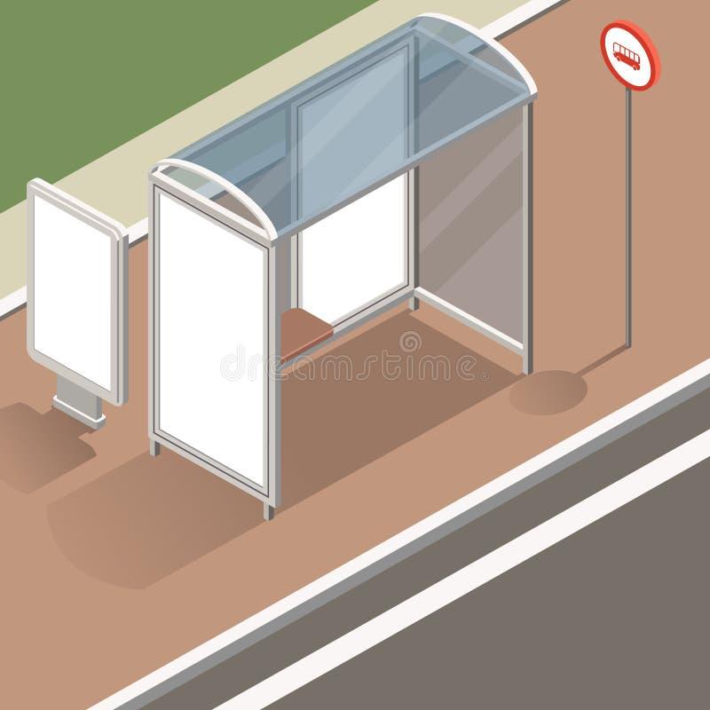 Isometrisk hållplatsmodell royaltyfri illustrationer
