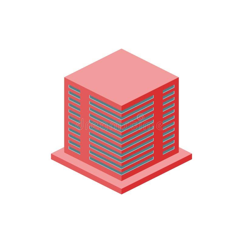 isometrisk höghusgaragebyggnad Beståndsdel av isometrisk byggnad för färg Högvärdig kvalitets- symbol för grafisk design undertec royaltyfri illustrationer