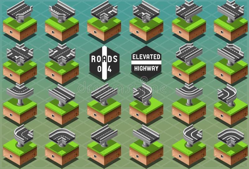 Isometrisk högstämd huvudväg på grön terräng royaltyfri illustrationer