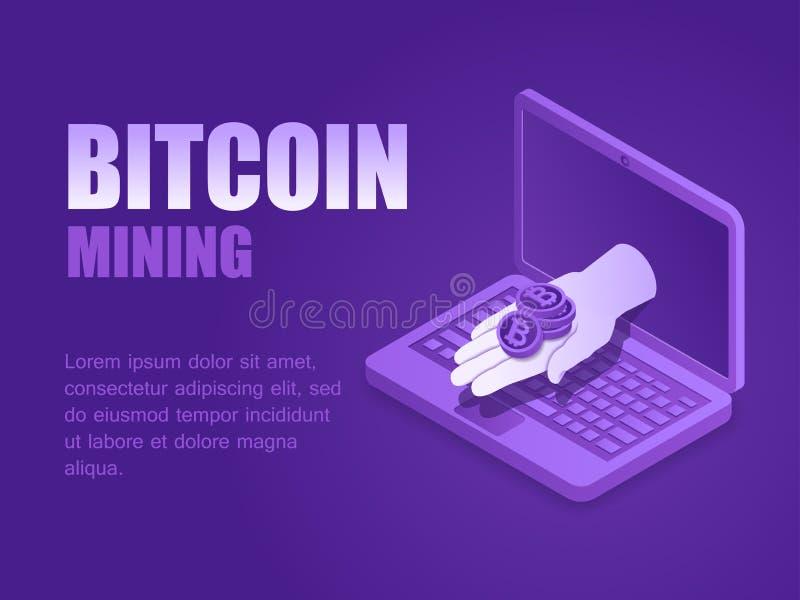 Isometrisk hand för vektorillustration med bitcoinmyntet av sidan för bärbar datorskärmlandning royaltyfri illustrationer