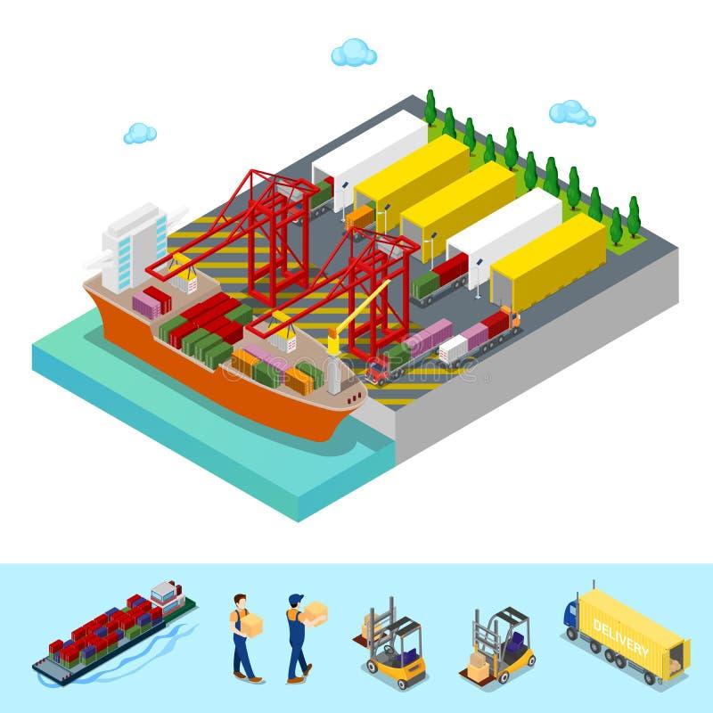 Isometrisk havslastport med fraktbehållareskeppet och lastbilar stock illustrationer
