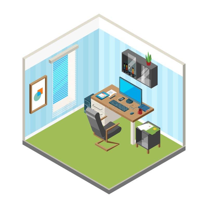 Isometrisk hem- workspace Märkes- vektor för bildskärm för dator för studio för produktion för konst för freelancerkontorsarbetsp vektor illustrationer