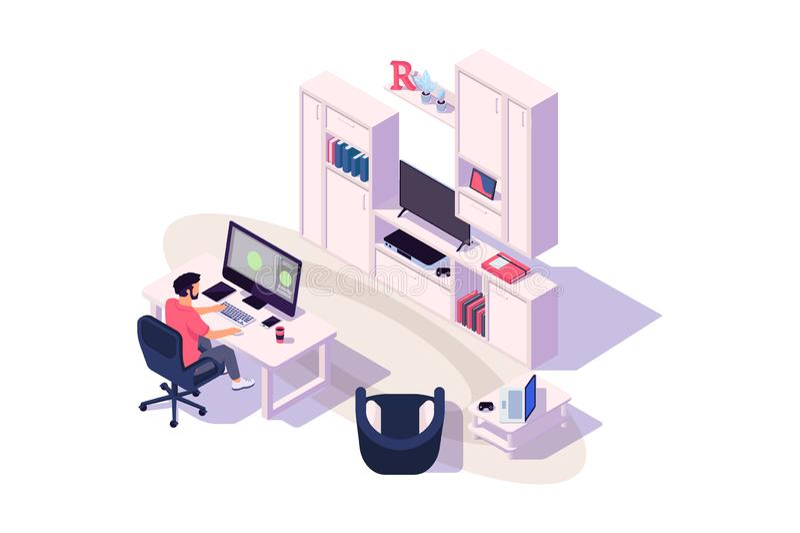 Isometrisk hemtrevlig arbetsplats 3d med affärsmannen på arbete med datoren, tv och apparaten royaltyfri illustrationer