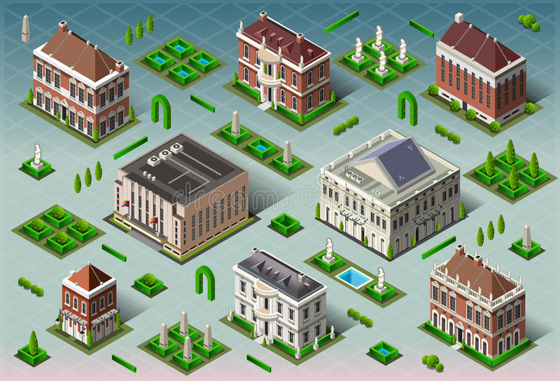 Isometrisk historisk amerikansk byggnad stock illustrationer