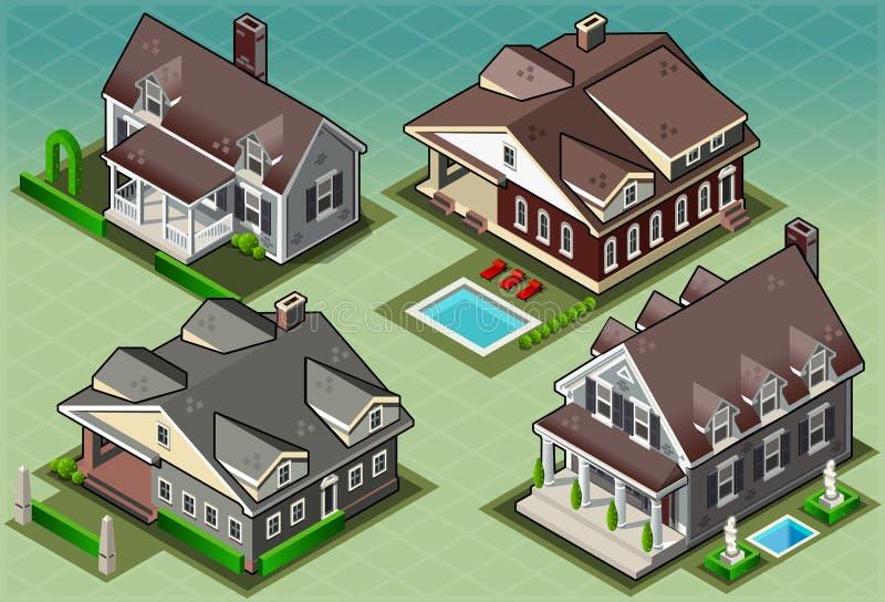 Isometrisk historisk amerikansk byggnad vektor illustrationer
