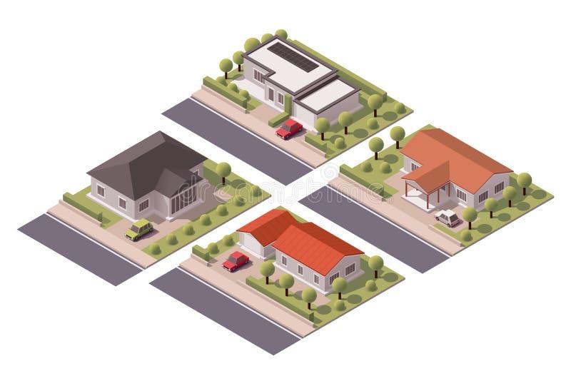 Isometrisk husuppsättning för vektor stock illustrationer
