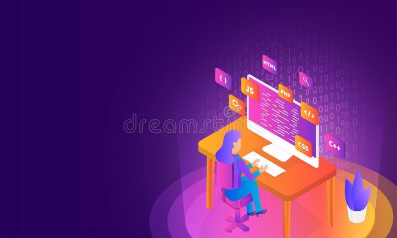 Isometrisk illustration av analytikeren eller bärare som söker det pro- stock illustrationer