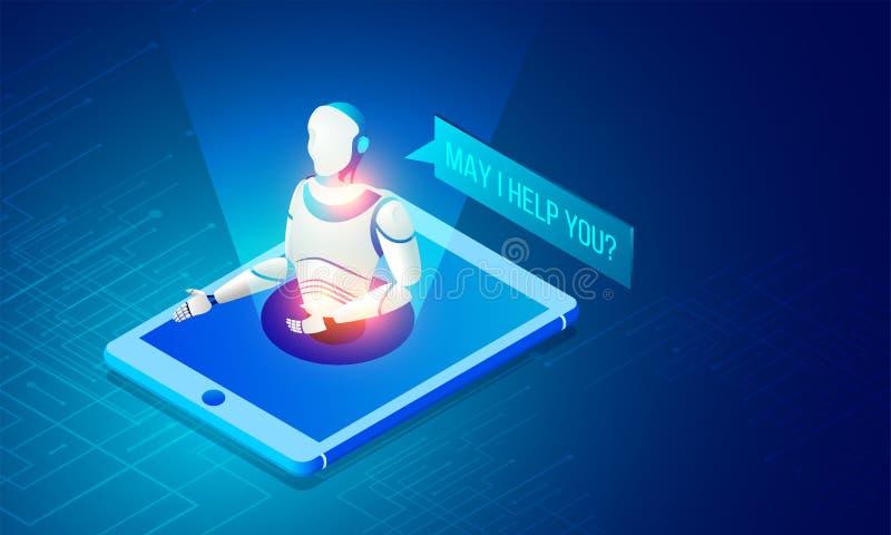 Isometrisk illustration av en robot på smartphone- och ingreppsnätverk vektor illustrationer