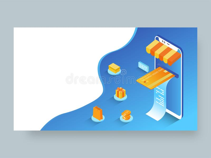 Isometrisk illustration av online-betalning från smartphonen med shoppingbeståndsdelar royaltyfri illustrationer