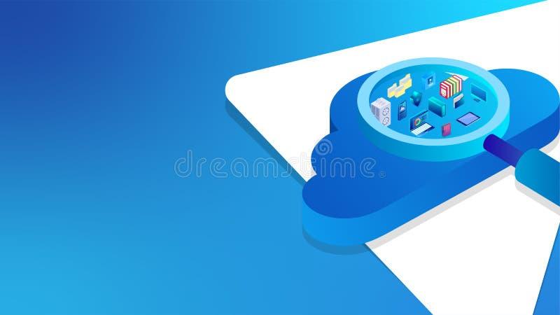isometrisk illustration 3D av förstoringsglaset som söker nödvändiga affärsbeståndsdelar på molnet för det baserade molnlagringsb stock illustrationer