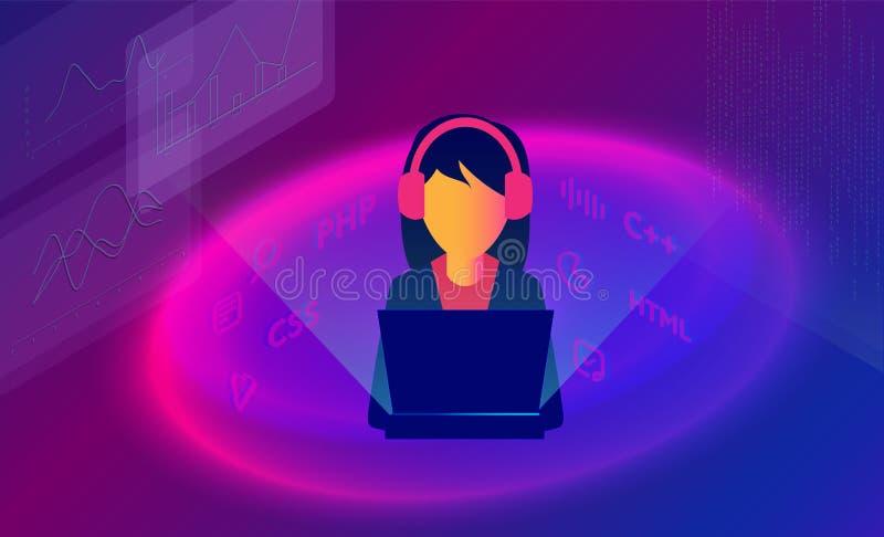Isometrisk illustration 3d av flickaprogrammerare som kodifierar ett projekt genom att använda datoren Flickaprogrammerare- eller royaltyfri illustrationer