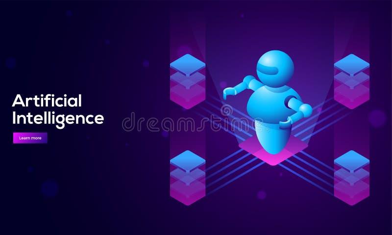 isometrisk illustration 3D av roboten mellan fyra glödande kvarter f stock illustrationer