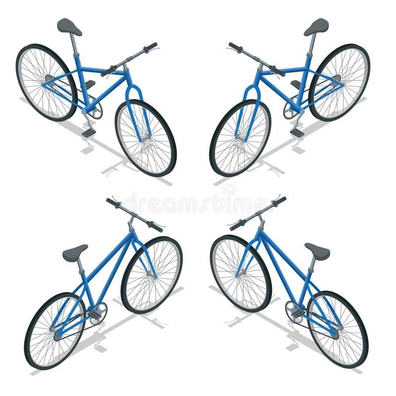 Isometrisk illustration för cykelvektor Ny cykel som isoleras på en vit bakgrund stock illustrationer