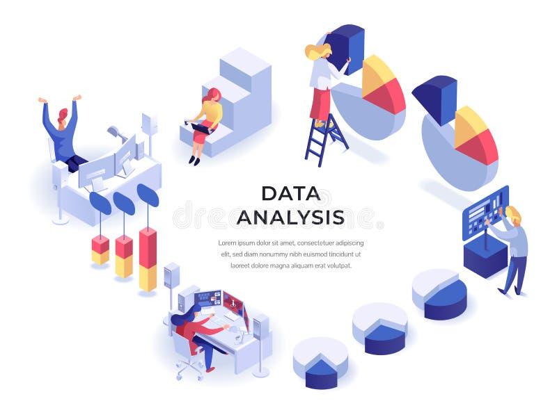 Isometrisk illustration för data vektor illustrationer