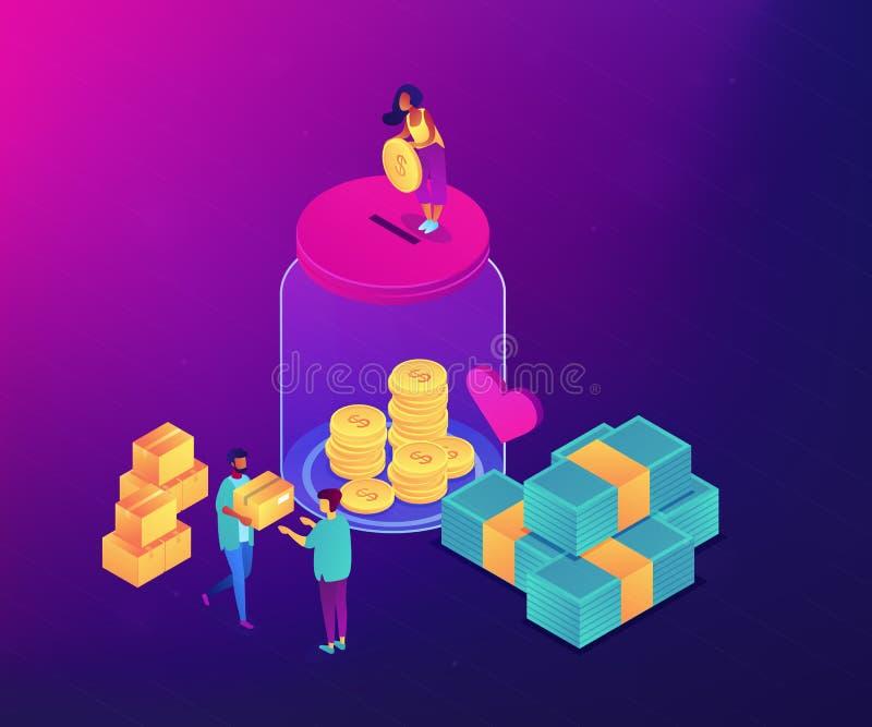 Isometrisk illustration för donationbegreppsvektor stock illustrationer