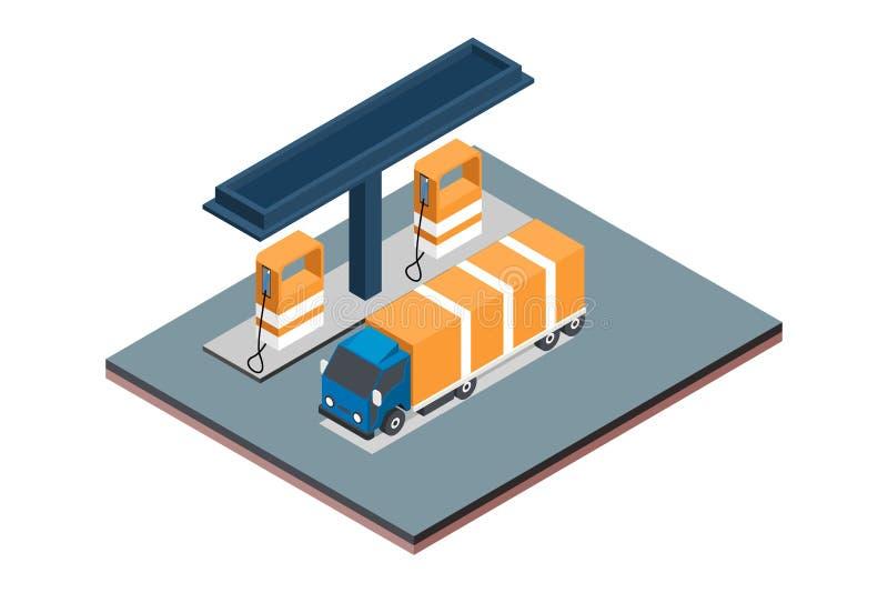 Isometrisk illustration för gasbensinstationvektor, i vit isolerad bakgrund med folk och Digital släkt tillgång royaltyfria foton