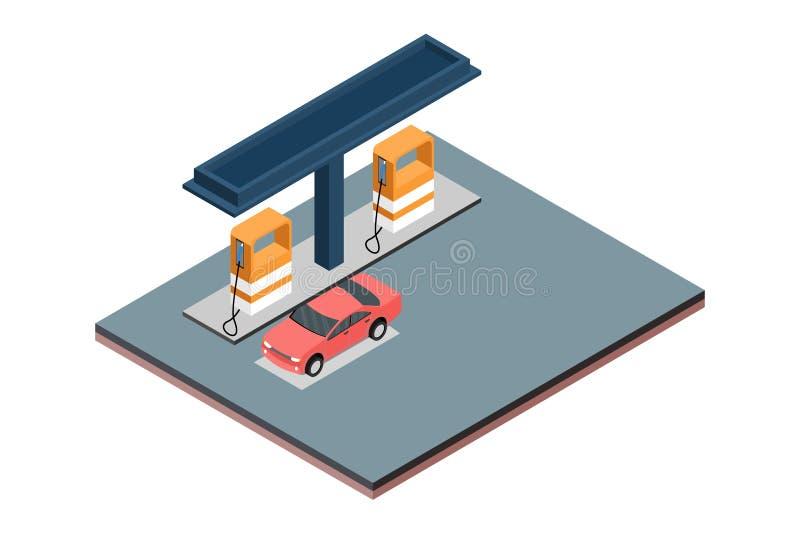 Isometrisk illustration för gasbensinstationvektor, i vit isolerad bakgrund med folk och Digital släkt tillgång fotografering för bildbyråer