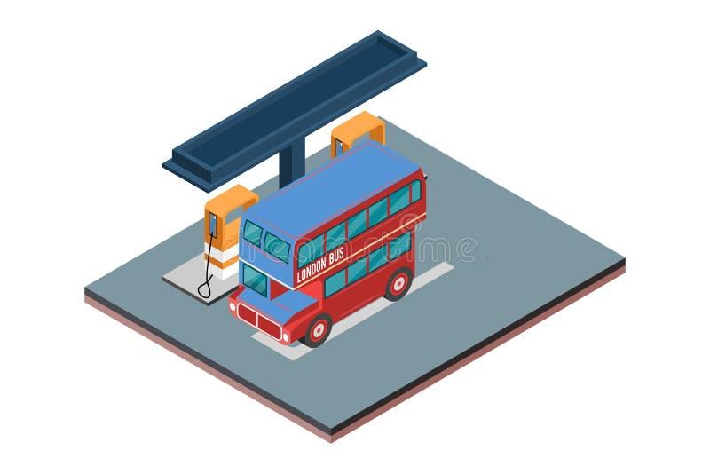 Isometrisk illustration för gasbensinstationvektor, i vit isolerad bakgrund med folk och Digital släkt tillgång royaltyfri foto