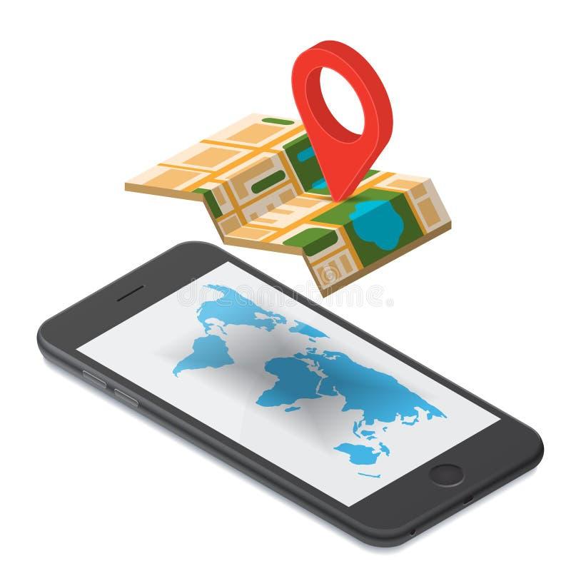 Isometrisk illustration för GPS navigering royaltyfri illustrationer