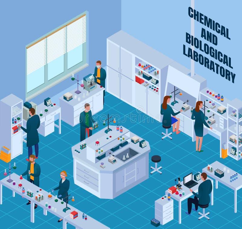 Isometrisk illustration för kemiskt biologiskt laboratorium stock illustrationer