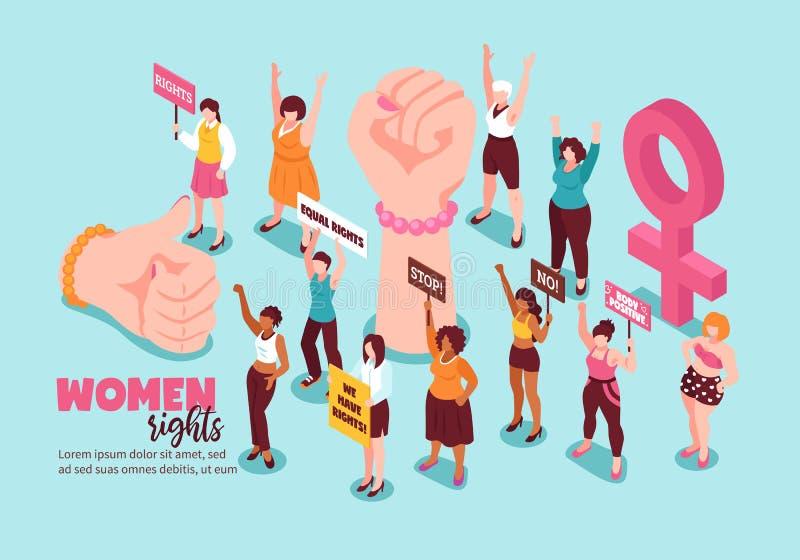 Isometrisk illustration för kvinnarättfeminism vektor illustrationer