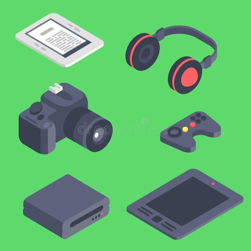 Isometrisk illustration för mobil kommunikation 3d för trådlösa teknologier för symboler för apparater för vektorgrejdator digita stock illustrationer