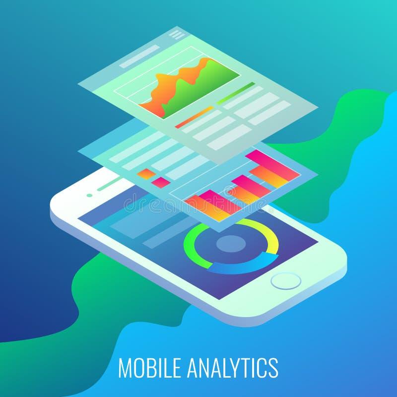 Isometrisk illustration för mobil lägenhet för analyticsbegreppsvektor vektor illustrationer