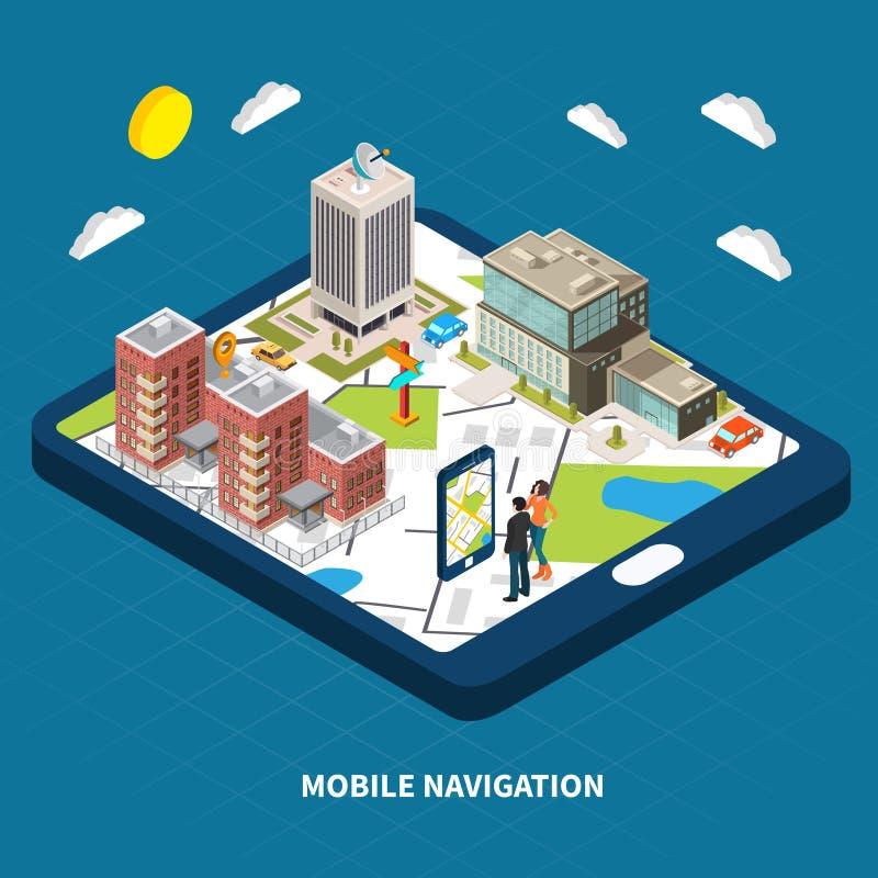 Isometrisk illustration för mobil navigering royaltyfri illustrationer