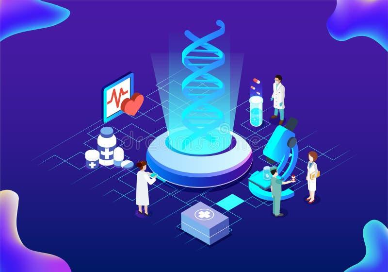 Isometrisk illustration för modern medicinsk teknologi vektor illustrationer
