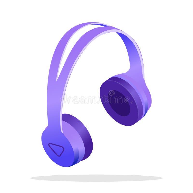 Isometrisk illustration för modern trådlös hörlurar vektor illustrationer