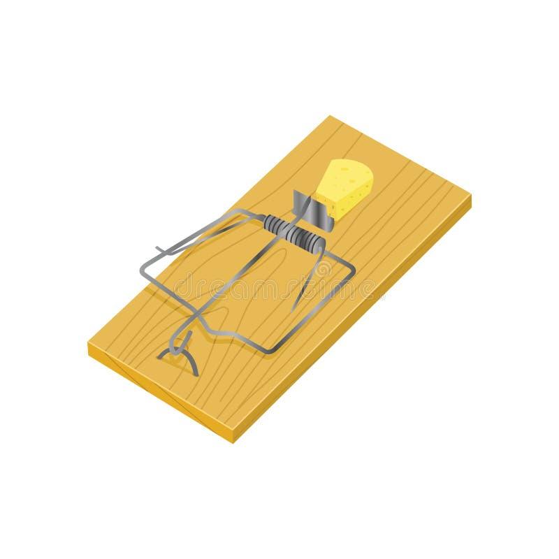 Isometrisk illustration för musfällavektor vektor illustrationer