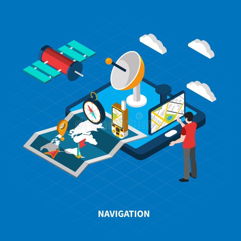 Isometrisk illustration för navigering royaltyfri illustrationer