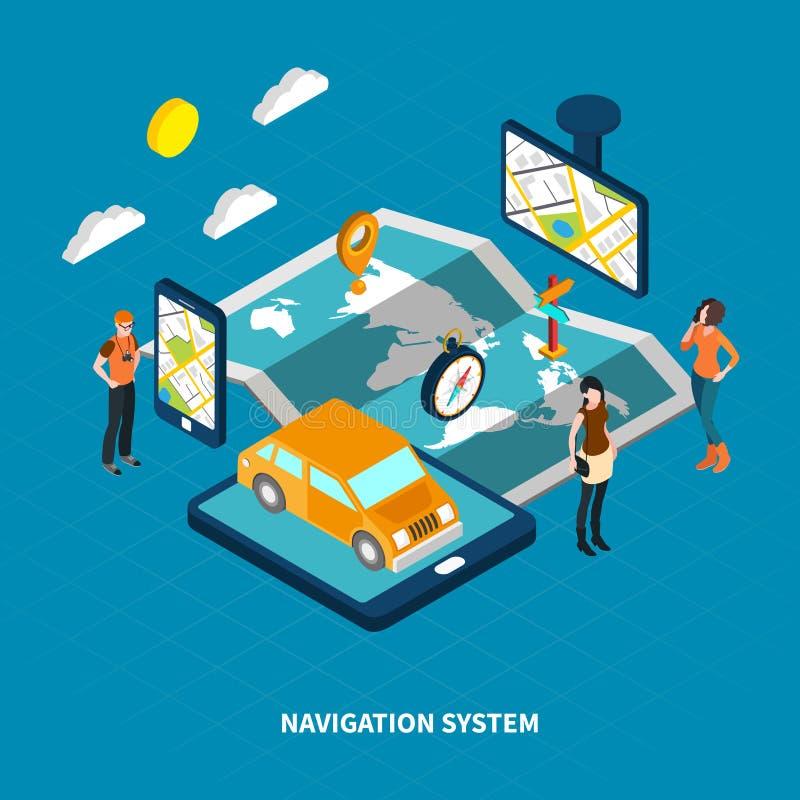 Isometrisk illustration för navigeringsystem stock illustrationer