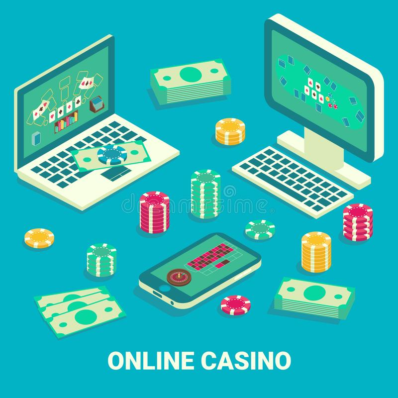 Isometrisk illustration för online-lägenhet för kasinobegreppsvektor vektor illustrationer