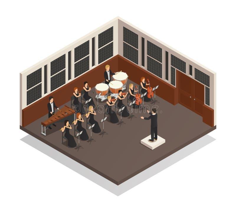 Isometrisk illustration för orkester royaltyfri illustrationer