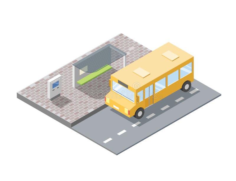 Isometrisk illustration för vektor av bussstationen med biljettförsäljningsterminalen stock illustrationer