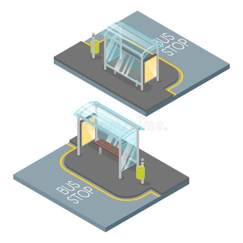 Isometrisk illustration för vektor 3d av hållplatsen stock illustrationer