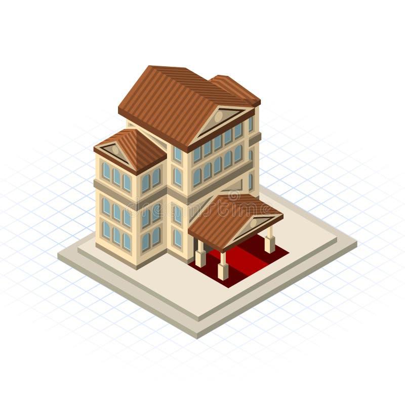 Isometrisk illustration för vektor för bankbyggnad royaltyfri illustrationer