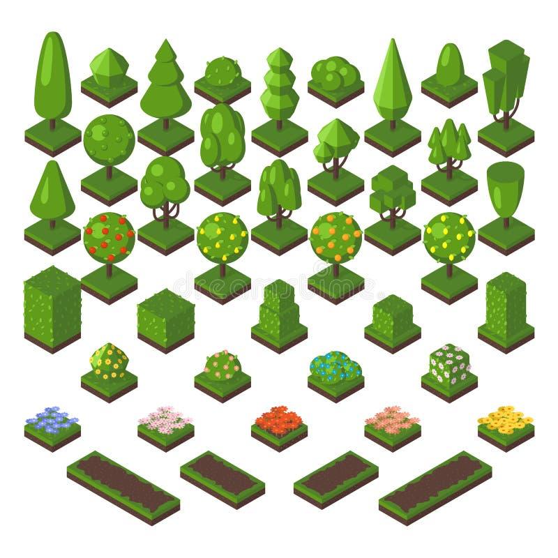 Isometrisk illustration för vektor för natur för skog för träduppsättninggräsplan vektor illustrationer