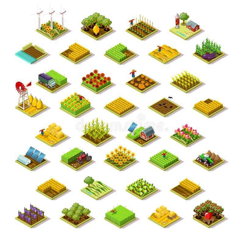 Isometrisk illustration för vektor för samling för symbol för byggnadslantgård 3D royaltyfri illustrationer